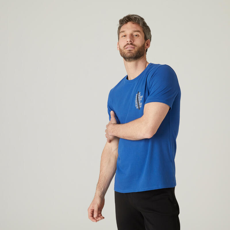 T-shirt fitness manches courtes coton extensible col rond homme bleu outremer
