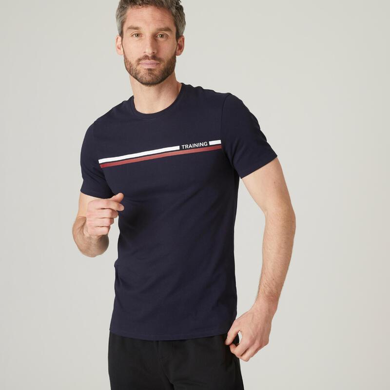 T-shirt fitness manches courtes slim coton col rond homme bleu noir à imprimé