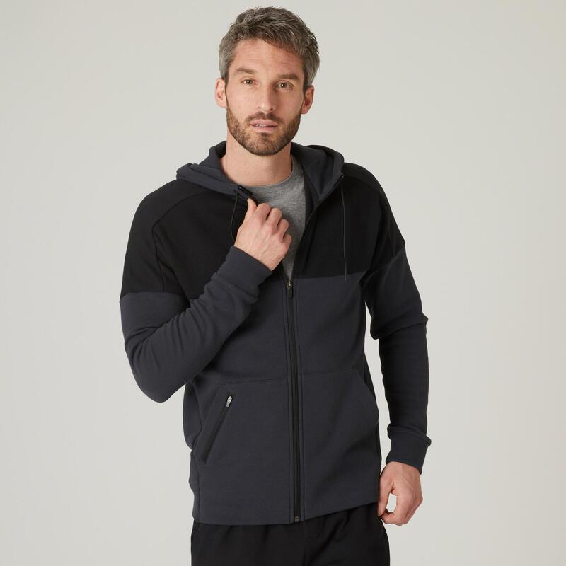 Hoodie met rits voor fitness molton grijs en zwart