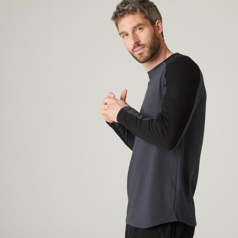 Long-Sleeved Stretch Cotton T-Shirt - Grey/Black