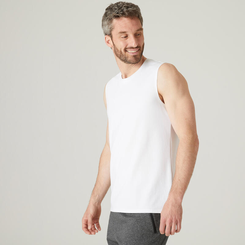 T-shirt sem Mangas de Fitness em Algodão Extensível Branco