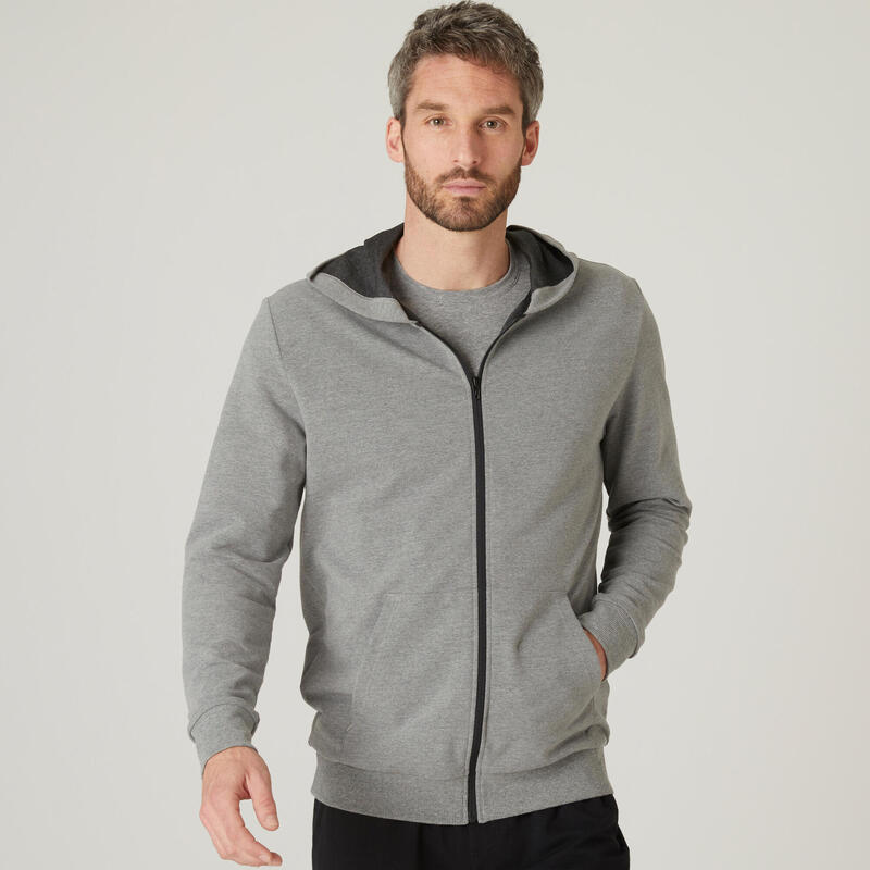 Lichte hoodie met rits voor fitness grijs