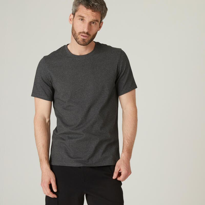 T-shirt fitness manches courtes coton extensible col rond homme gris foncé