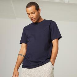 T-Shirt Fitness Baumwolle dehnbar Herren blau
