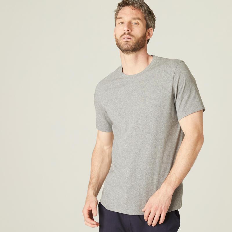 T-shirt fitness manches courtes coton extensible col rond homme gris clair