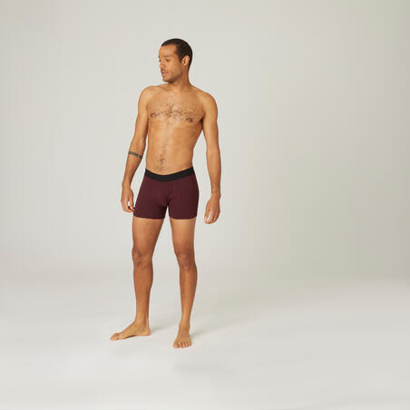 Fitness Stretch Cotton Boxer Shorts - Burgundy