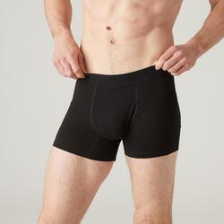 Boxershort voor pilates en lichte gym heren 500 rekbaar katoen zwart