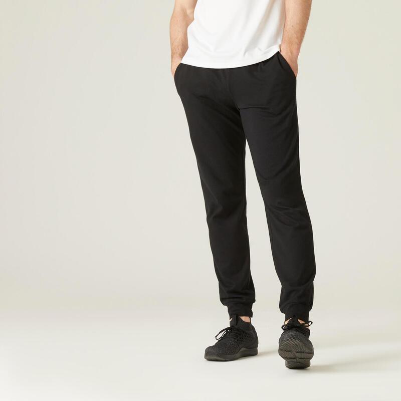 Pantalón jogger Fitness bajos ajustados negro