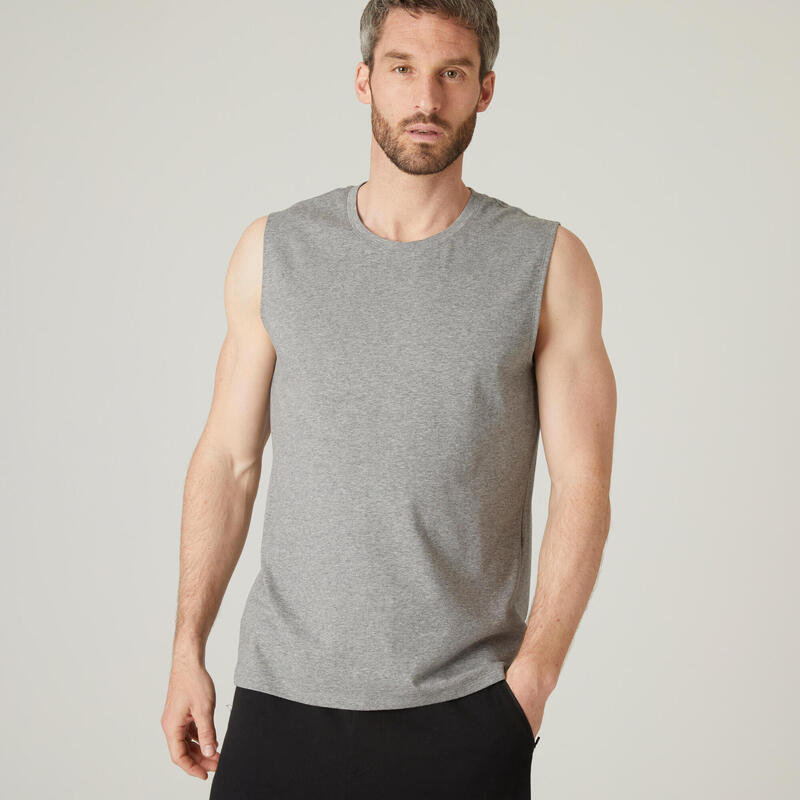 Fitness Stretch Cotton Tank Top - Mottled Grey
