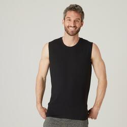 T-shirt sem Mangas de Fitness em Algodão Extensível Preto