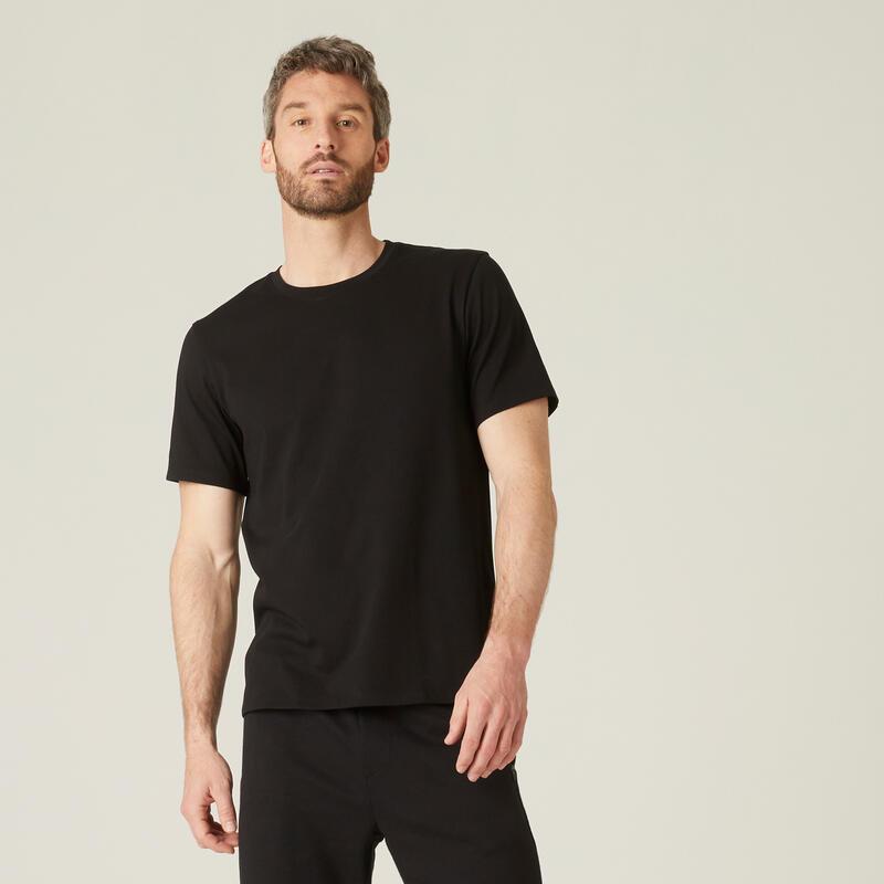 T-shirt fitness manches courtes droit coton extensible col rond homme noir