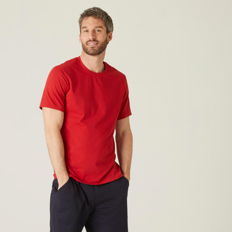 T-shirt fitness manches courtes coton extensible col rond homme rouge grenat