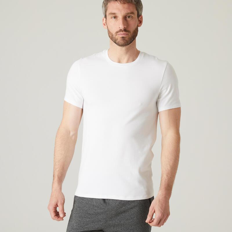 Camiseta Manga Corta Hombre Algodón Extensible Fitness Slim Blanco