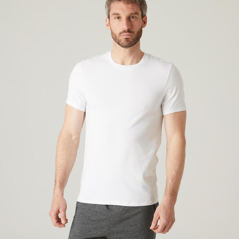 T-shirt fitness manches courtes slim coton extensible col rond homme blanc