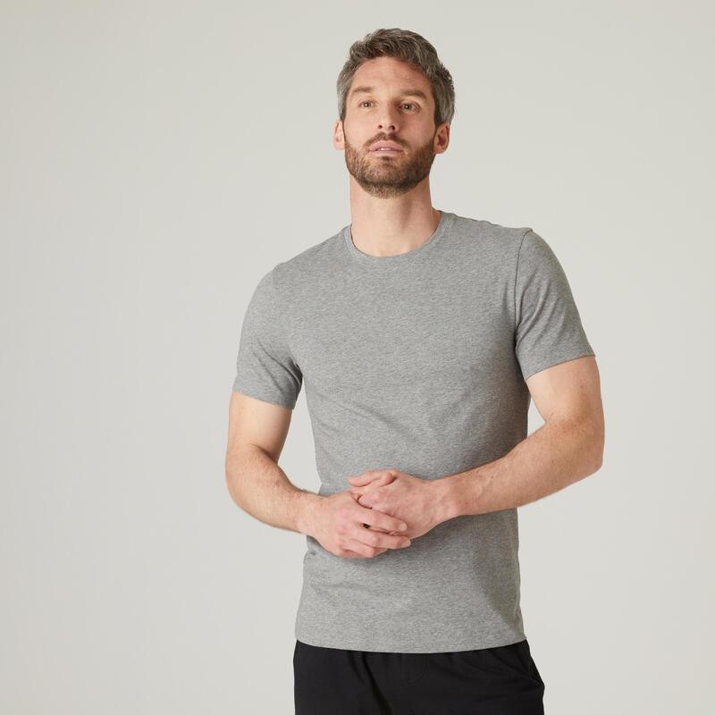 Camiseta Manga Corta Hombre Algodón Extensible Fitness Slim Gris Jaspeado