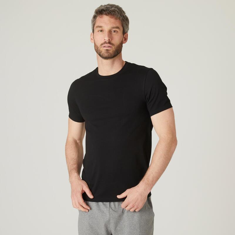 Tricou Slim Fitness 500 bumbac extensibil Negru Bărbați