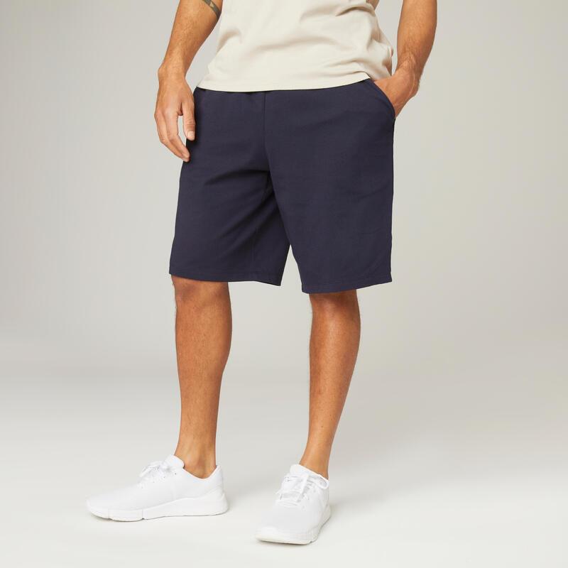 Short Coton Extensible Fitness Long Bleu Marine