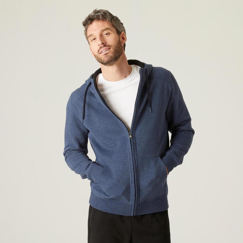 Sweat Zippé à Capuche Fitness Molleton Bleu