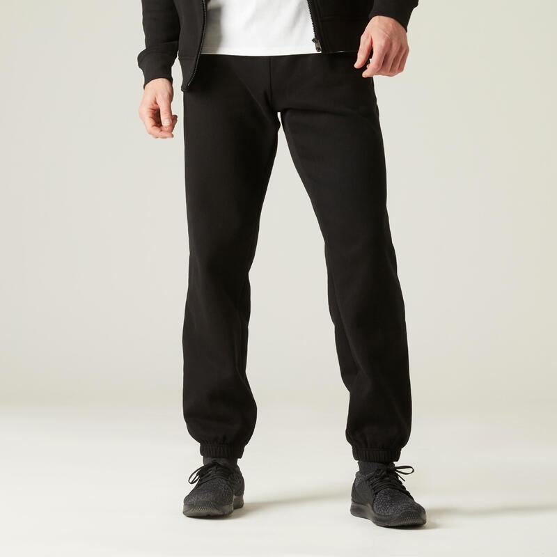 Fitness Fleece Jogging Bottoms with Zip Pockets - Black
