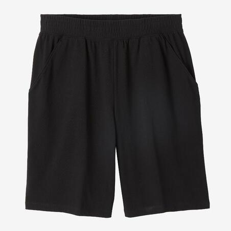 Fitness Long Stretch Cotton Shorts - Black