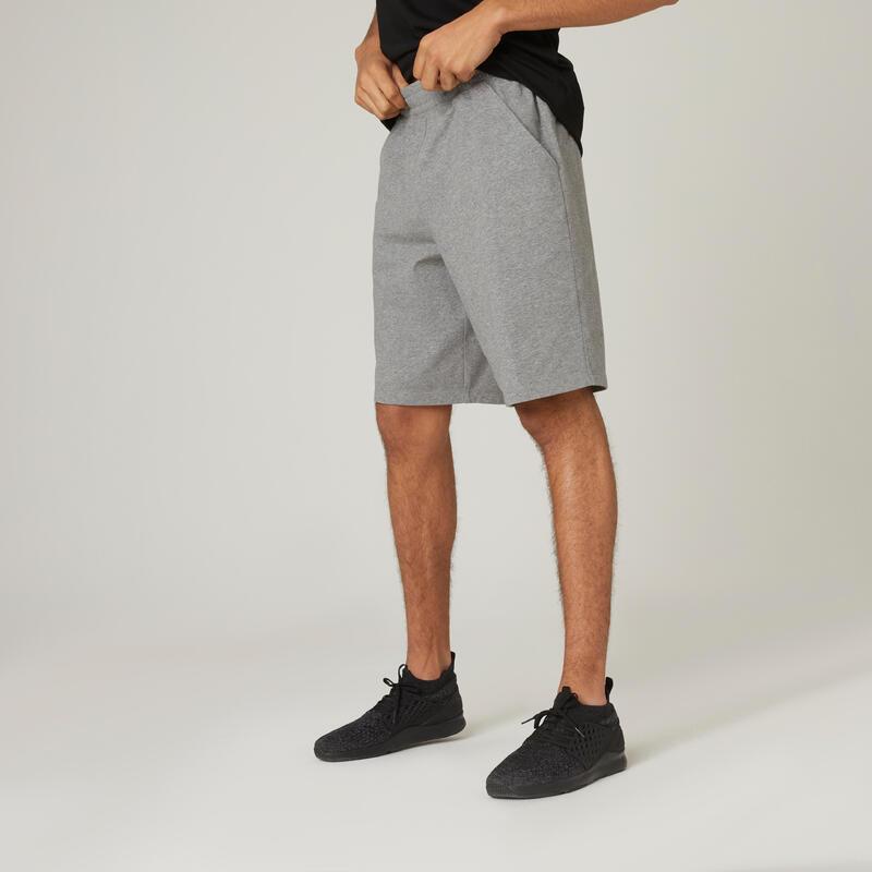 Short Coton Extensible Fitness Long Gris Chiné