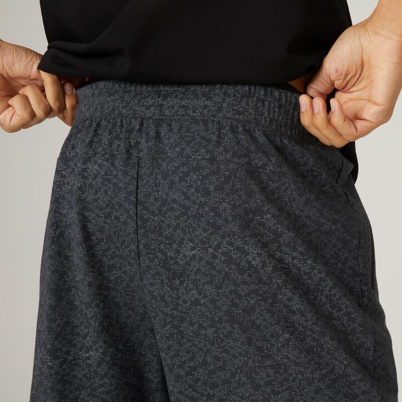 กางเกงขาสั้นผ้าฝ้ายเนื้อยืดหยุ่นทรงเข้ารูปยาวเหนือเข่ามีกระเป๋าซิปสำหรับใส่ออกกำลังกาย (สีเทาพิมพ์ลาย)