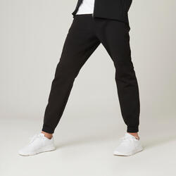 Joggingbroek voor pilates en lichte gym 540 platte tailleband slim fit zwart