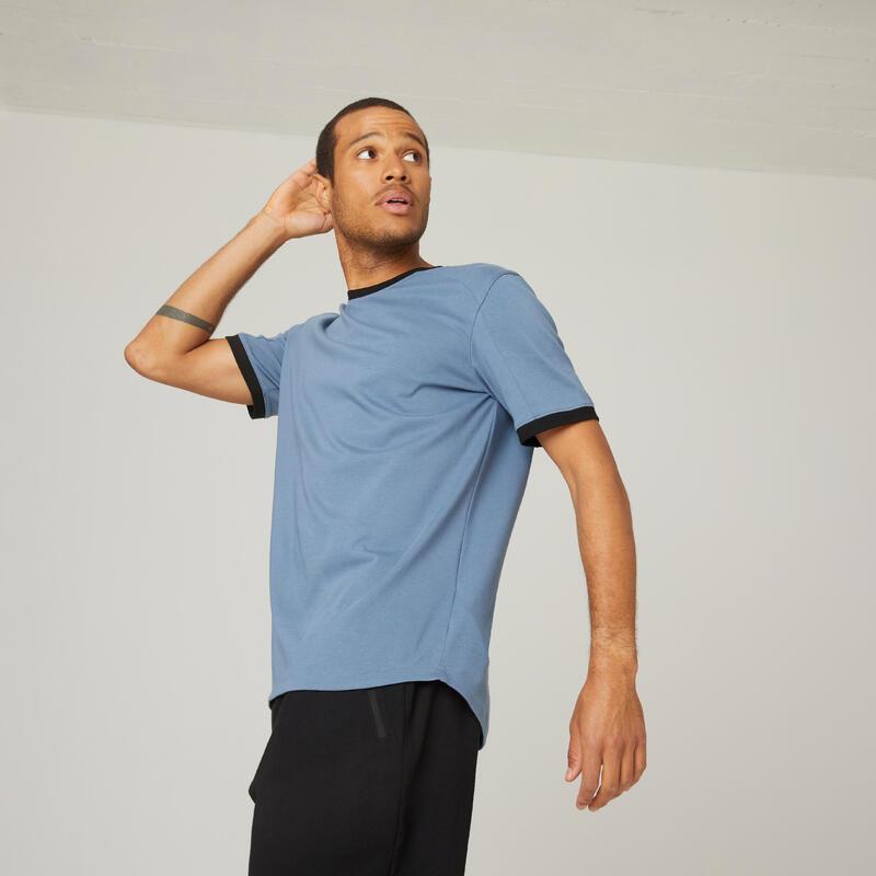 T-shirt fitness manches courtes coton extensible col rond homme bleu tempête