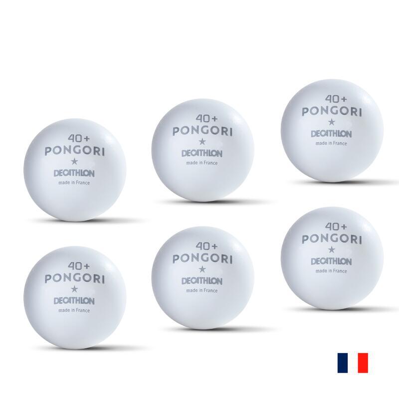 BALLES DE TENNIS DE TABLE TTB 100 1* 40+ FR x6 BLANCHE (fabriquée en France)