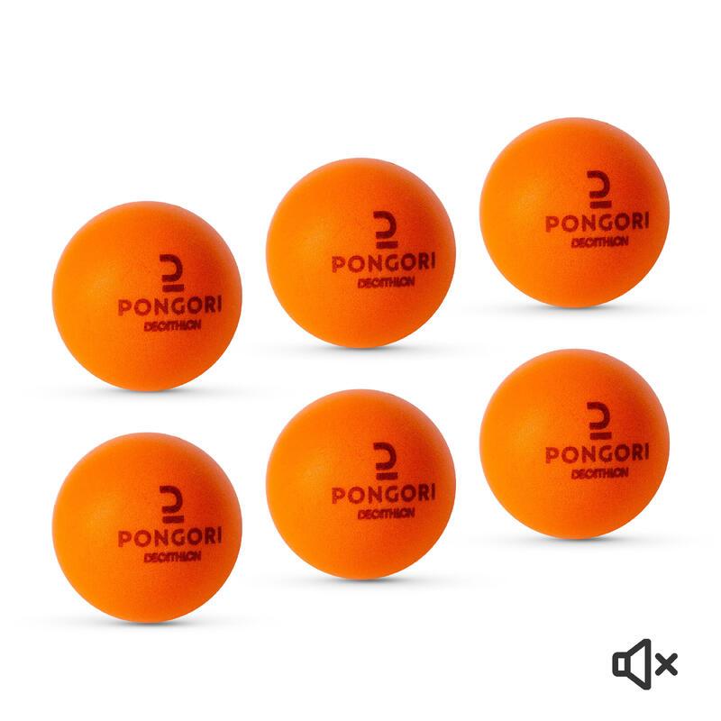 Set of 6 Foam Table Tennis Balls PPB 100 Silent - Orange