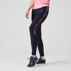 Leggings donna Adidas cotone blu scritta rosa