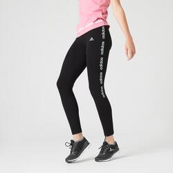 Leggings donna Adidas cotone nero scritta verde acqua