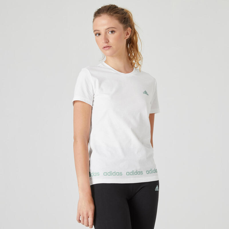 T-shirt fitness manches courtes slim 100% coton col rond femme blanc