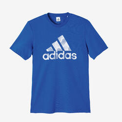 T-shirt fitness Adidas manches courtes slim 100% coton col rond homme bleu