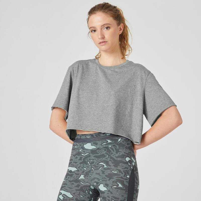 T-shirt fitness manches courtes crop top coton extensible col rond femme gris