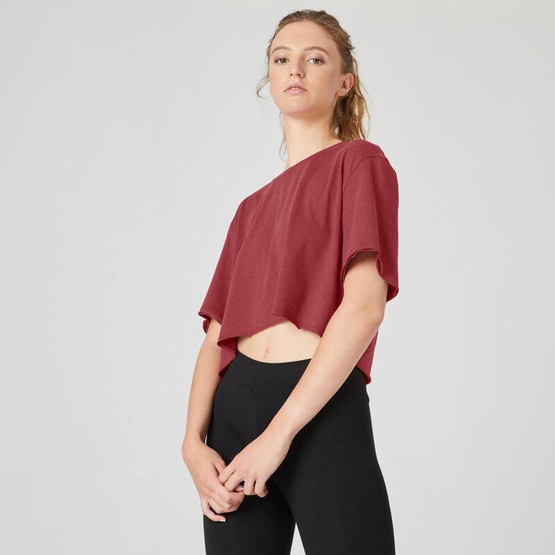 T-shirt fitness manches courtes crop top coton col rond femme bordeaux