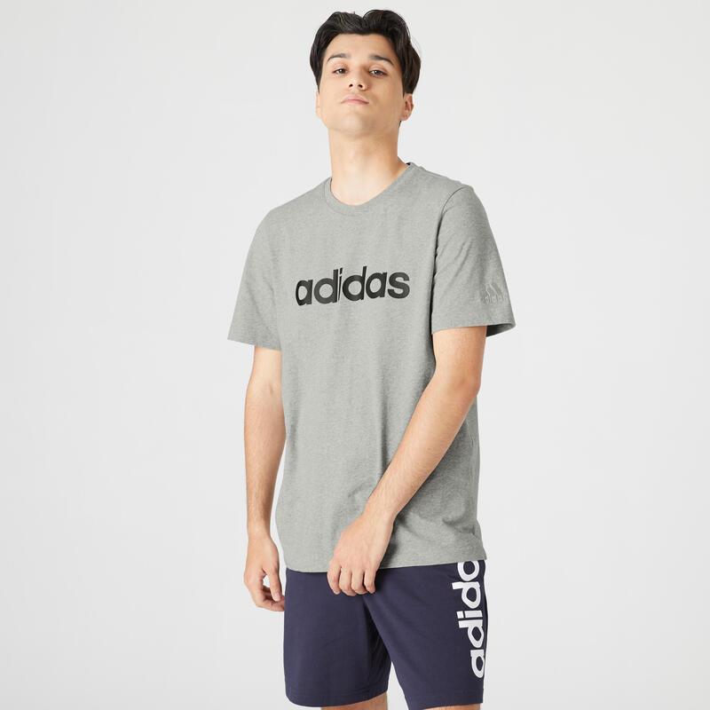 T-shirt fitness Adidas manches courtes slim 100% coton col rond homme gris