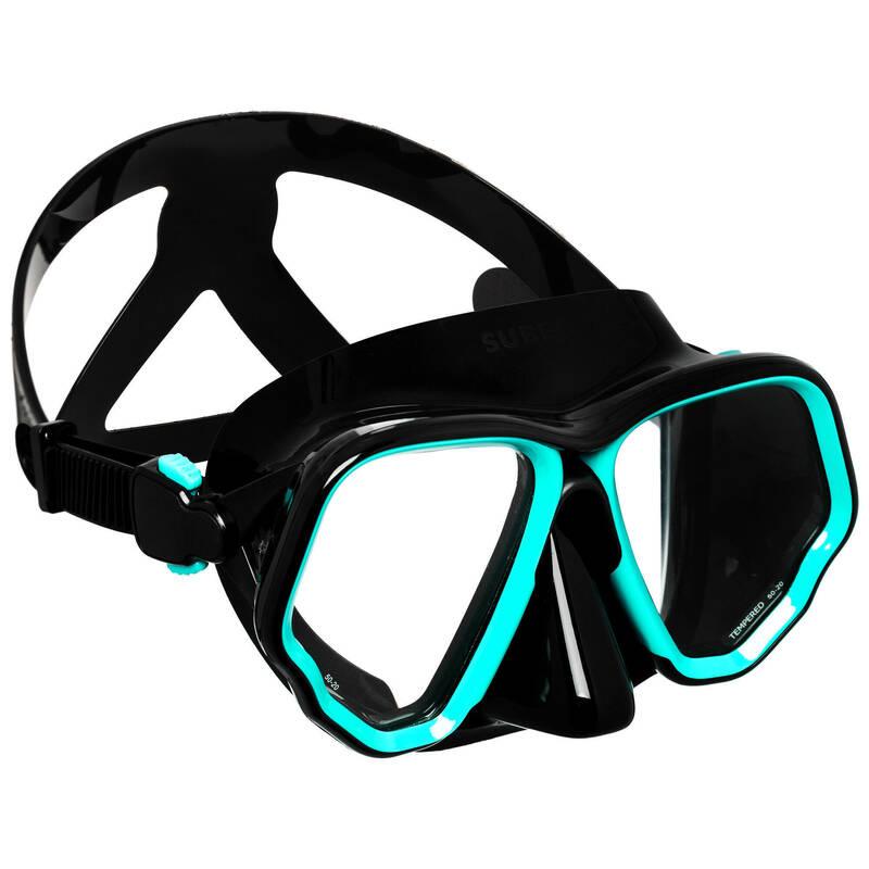 MASKY A ŠNORCHLY NA POTÁPĚNÍ Potápění a šnorchlování - BRÝLE SCD 500 BI V2 ČERNÉ SUBEA - Potápění