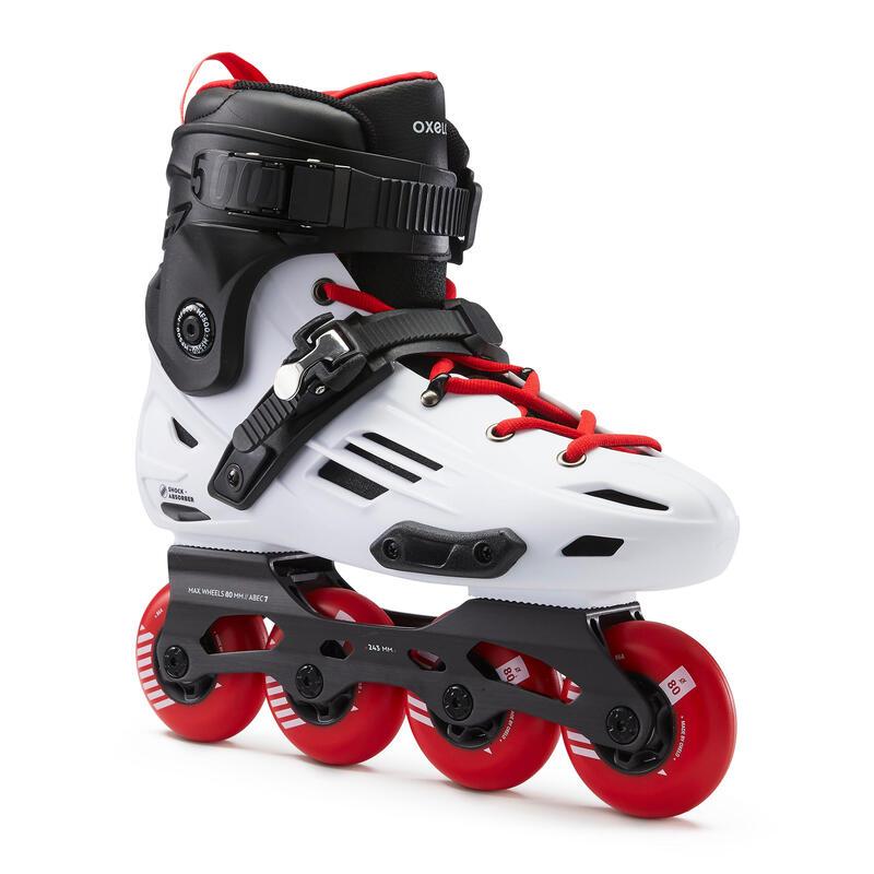 Roller in linea freeride hardboot adulto MF500 bianco-rosso