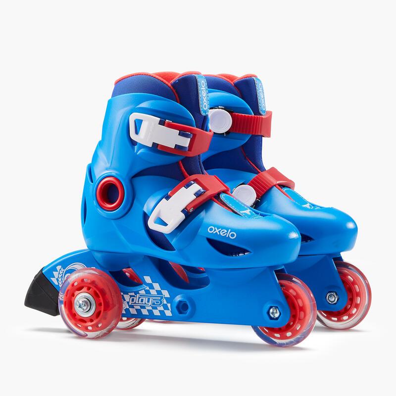 รองเท้าสเก็ตสำหรับเด็กรุ่น Play 3 (สีฟ้า/แดง)
