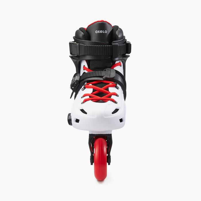 Patins em Linha Freeride Hardboot Adulto MF500 Branco/Vermelho