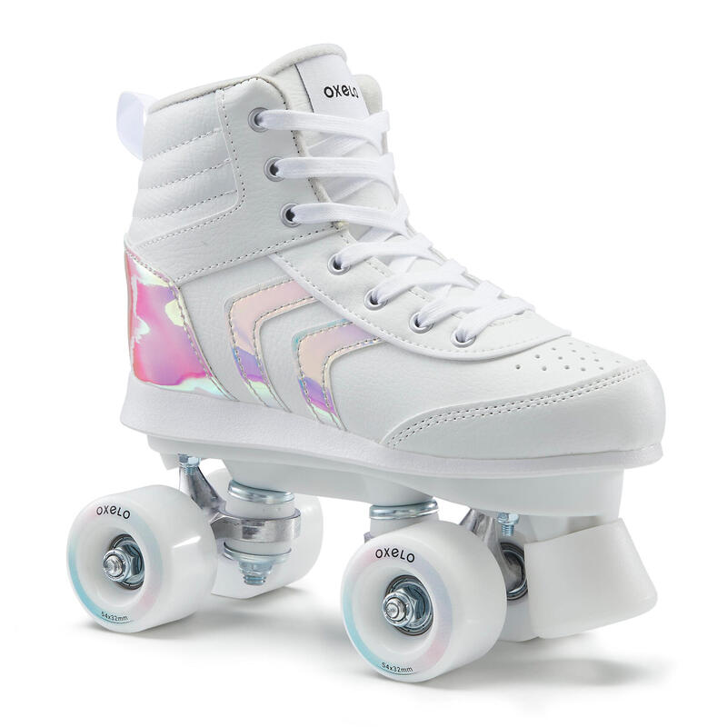 100 JR Quad Roller Skates - White Holographic