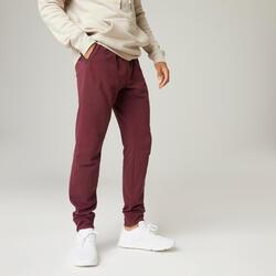 Pantaloni slim uomo fitness 500 bordeaux