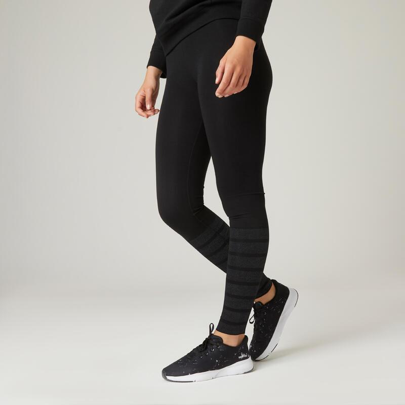 Legging fitness long coton extensible respirant femme - noir