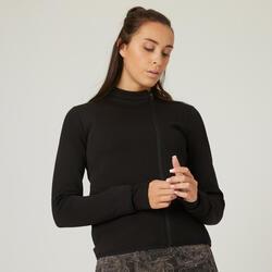 Sweatjacke Fitness mit Reissverschlusstaschen Damen schwarz