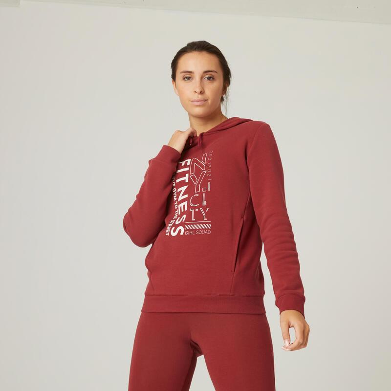 Felpa con cappuccio donna fitness 500 rossa con stampa