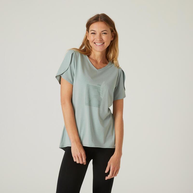 T-shirt fitness manches courtes couvrant coton col en V femme vert-de-gris