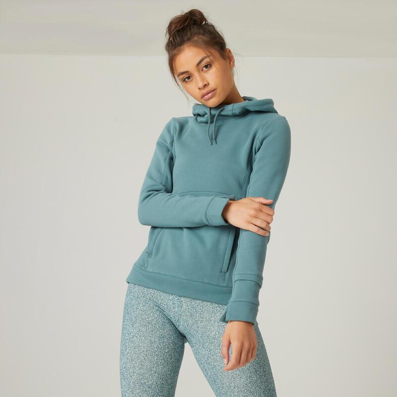 Women's High Collar Fitness Hoodie - Green