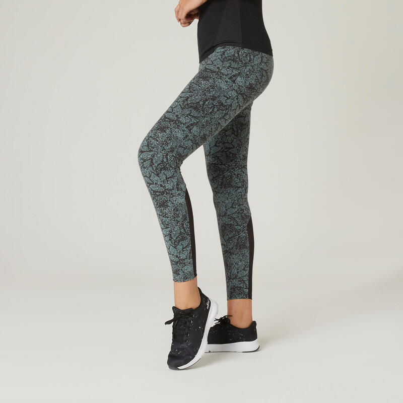 Legging fitness 7/8 coton extensible avec mesh femme - gris vert