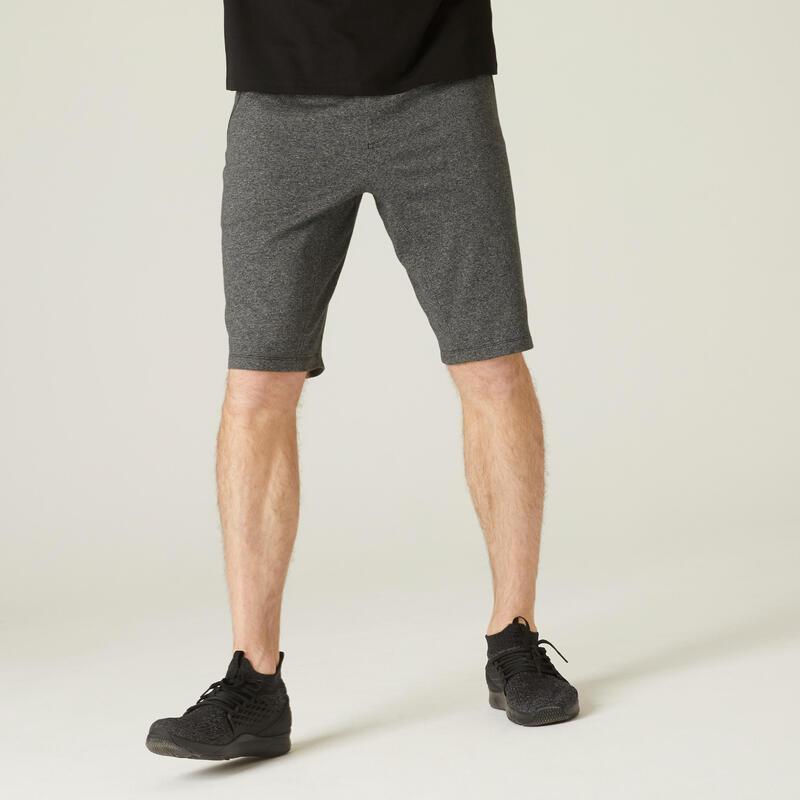 Short Coton Extensible Fitness Long avec poches zippées Gris Foncé